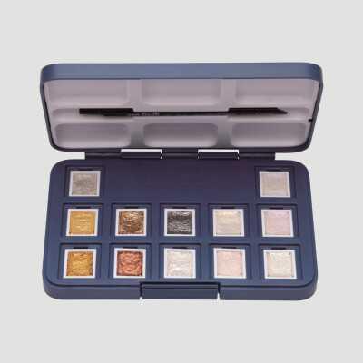 Confezione Acquerello VanGogh - 12 Godet di Colori Metallici e Iridescenti