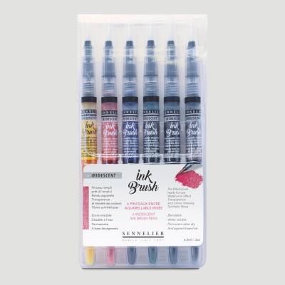 Confezione Ink Brush Sennelier - 6 Colori Iridescenti