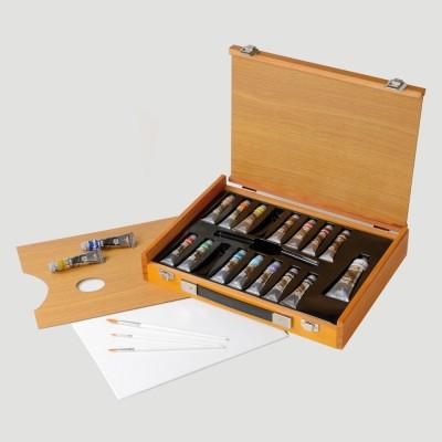 Cassetta in Legno Polycolor - 17 tubetti + Accessori