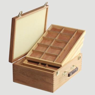 Cassetta Portacolori in Faggio - tre scomparti con maniglia