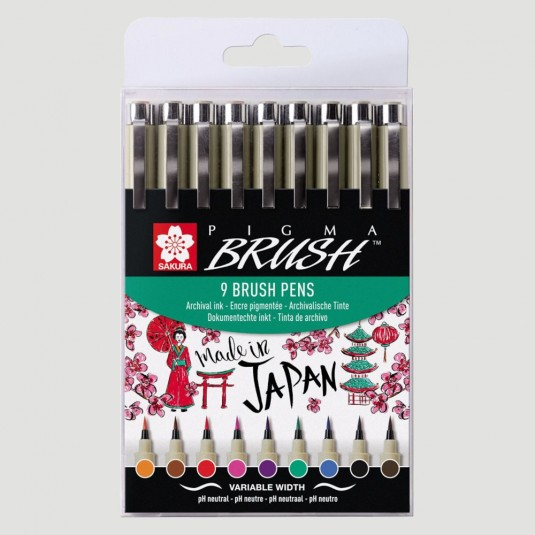 Brush Pen Pigma Lettering - Confezione da 9 colori