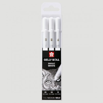 Set 3 Penne Gel Bianche - Sakura Gelly Roll