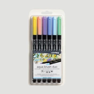Confezione Lyra Aqua Brush Duo - 6 Colori Pastello