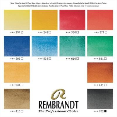 Colori ad Acquerello Extrafine Rembrandt - Set 12 mezzi godet Mono Pigmento