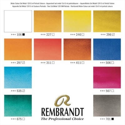 Colori ad Acquerello Extrafine Rembrandt - Set 12 Tubetti 10ml colori Ritratto