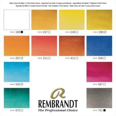 Colori ad Acquerello Extrafine Rembrandt - Set 12 mezzi godet colori Ritratto