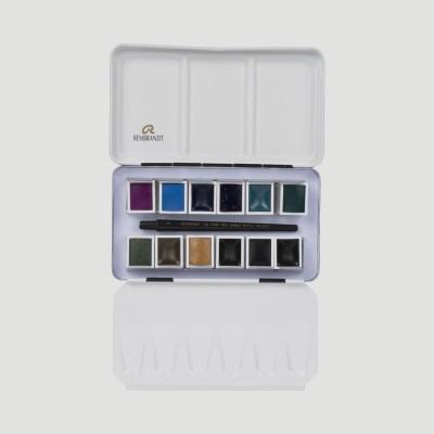 Colori ad Acquerello Extrafine Rembrandt - Set 12 mezzi godet colori Granulati