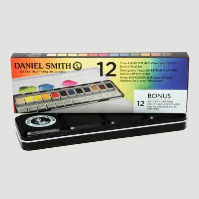 Confezione metallo 12 acquerelli Daniel Smith + 12 scomparti vuoti