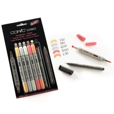 Set Toni Pastello Marker Copic Ciao - confezione 5 Marker + Liner 0.3mm