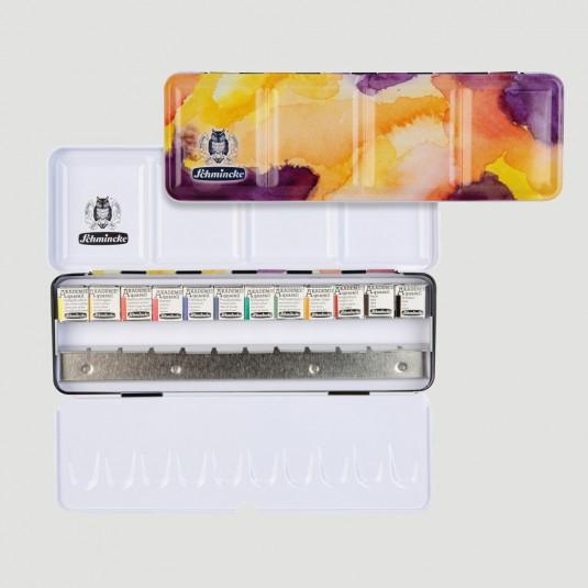 Confezione in metallo Acquerello Akademie Schmincke - 12 Colori + Tavolozza