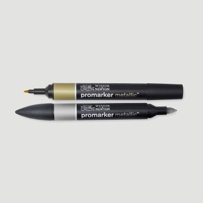Promarker Metallic Winsor&Newton, Confezione Oro+Argento