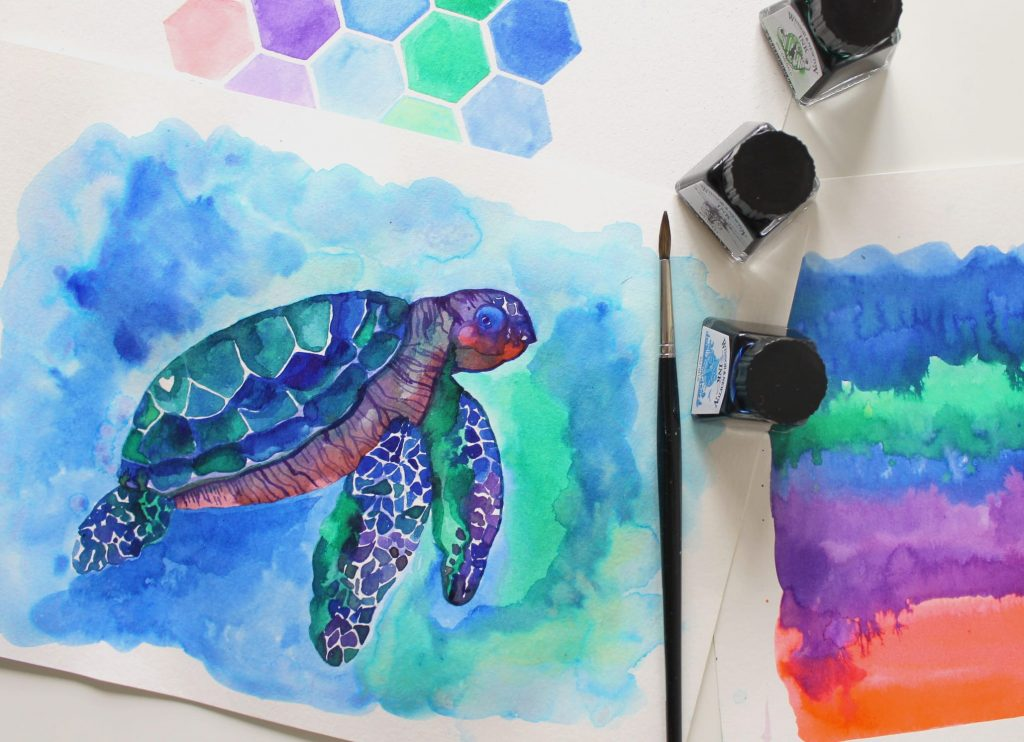 come dipingere con gli inchiostri una tartaruga