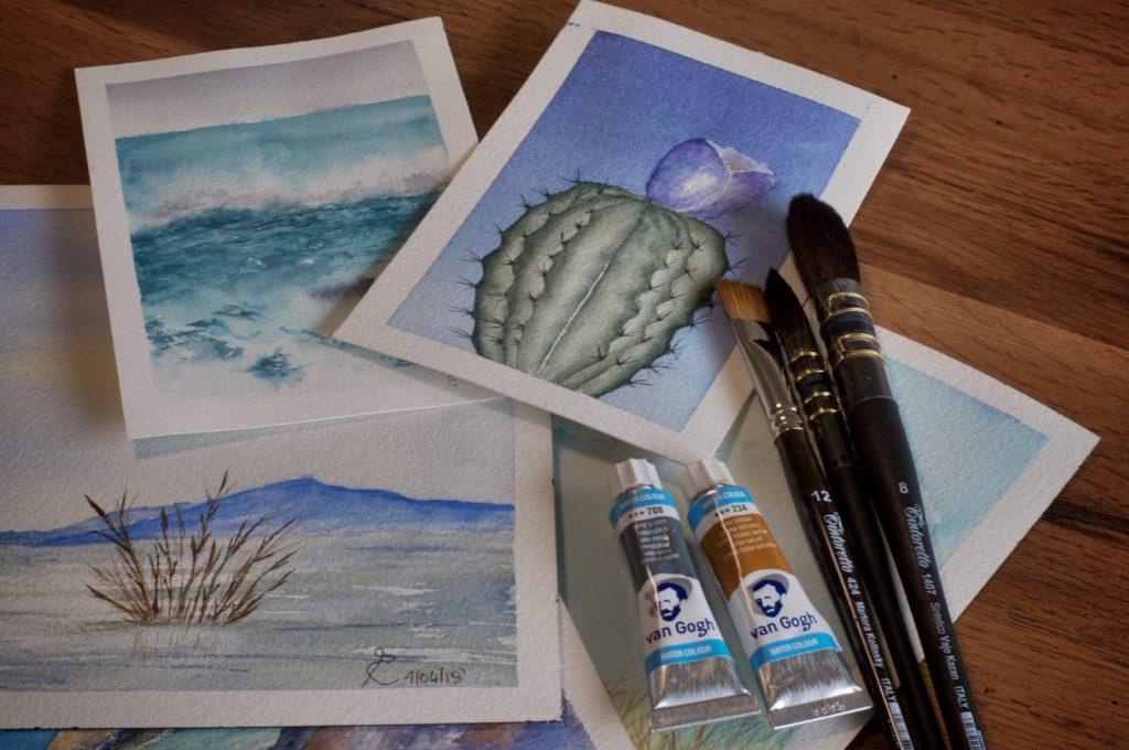 Disegni per acquerello, pennelli e colori Van Gogh