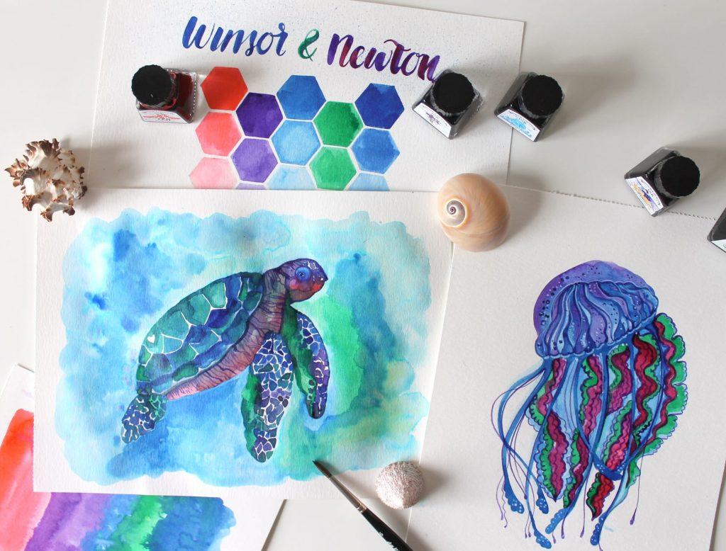 Tartaruga e medusa Winsor & Newton