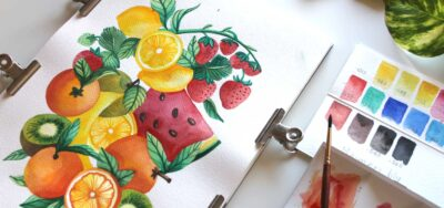 Dipingere dei frutti con gli acquerelli Maimeri Blu
