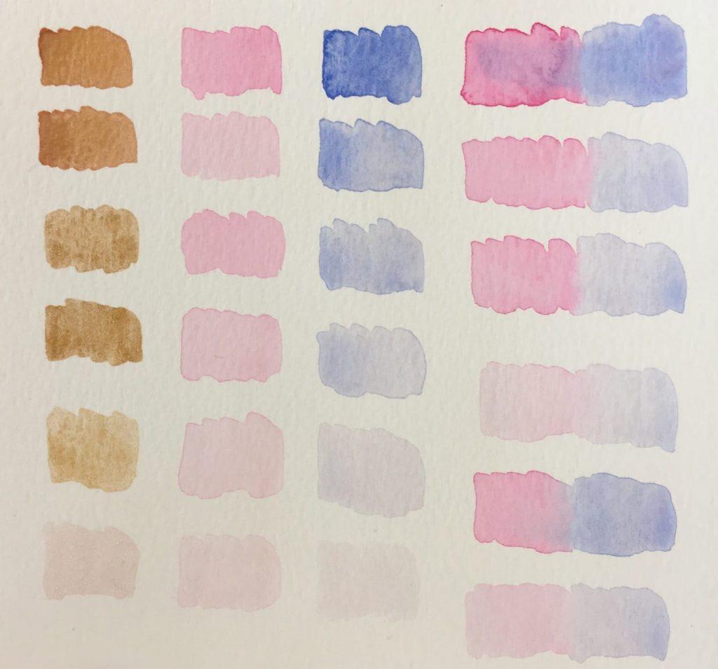 Confronto di colori per acquerello