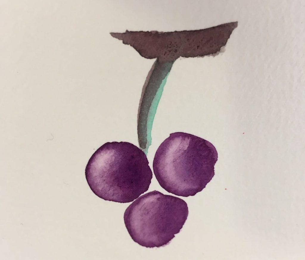Un grappolo d'uva ad acquerello